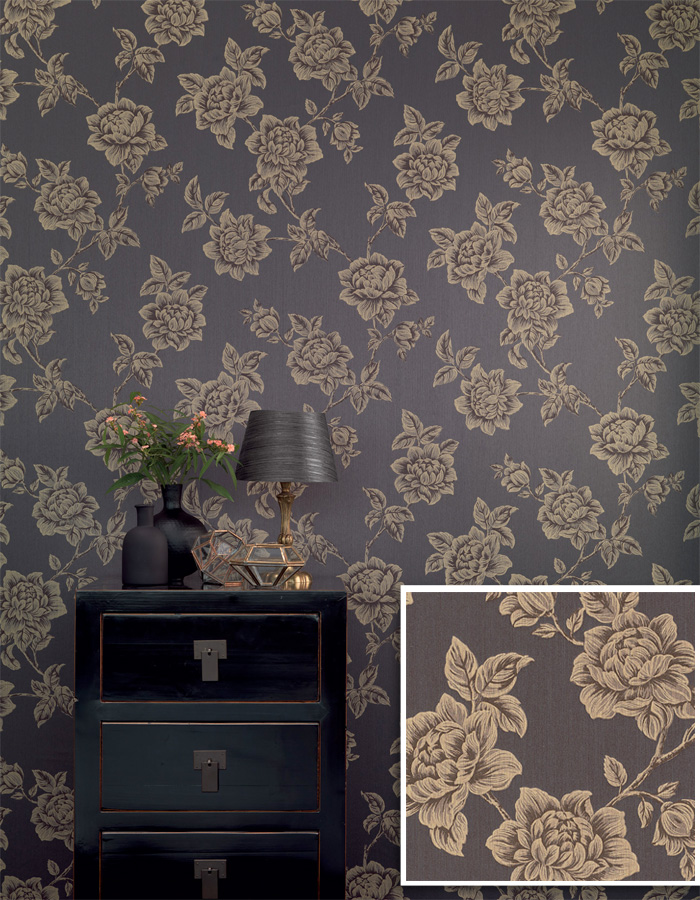 Classic Floral Luxurious Linen Wallpaper by Walls Republic