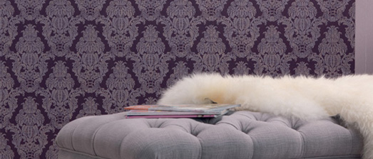 Traditional Interior Design with Royal Purple Damask Wallpaper by Walls Republic | Living Room Trends