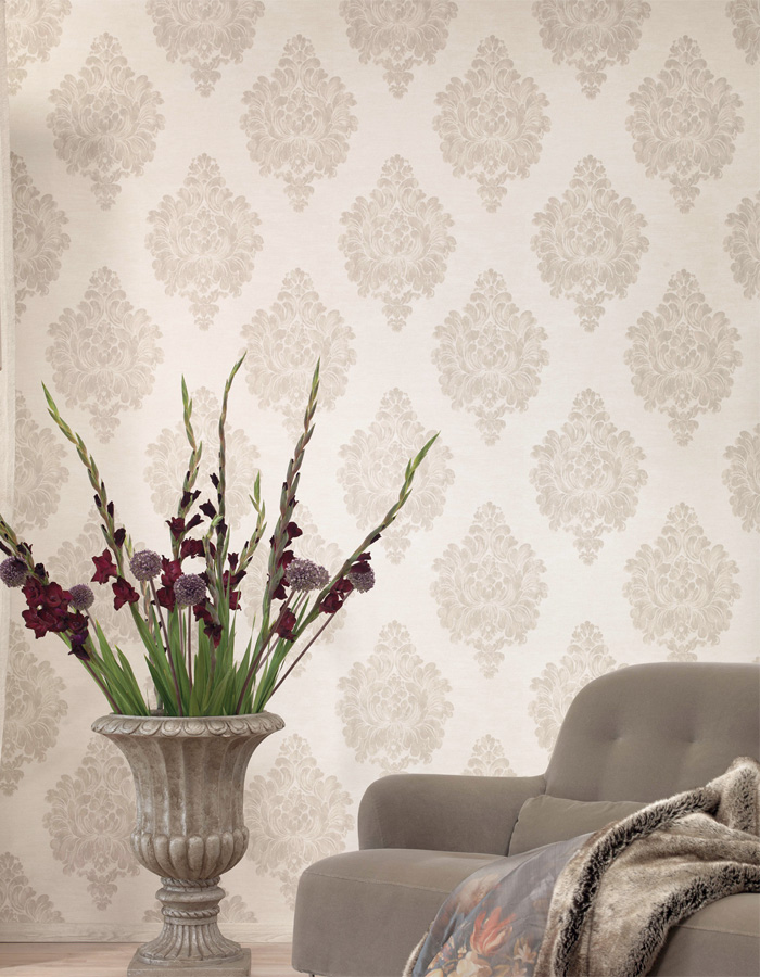 Walls Republic | Beige Weathered Damask Classic Wallpaper R3011