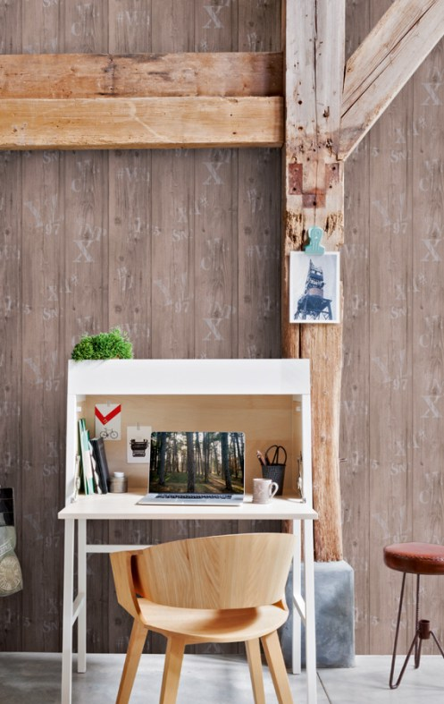Stamped Faux Wood Wallpaper in a Home Office Design R2559