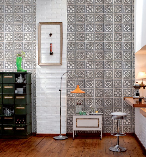Tiled Concrete Floral Wallpaper in a Home Office