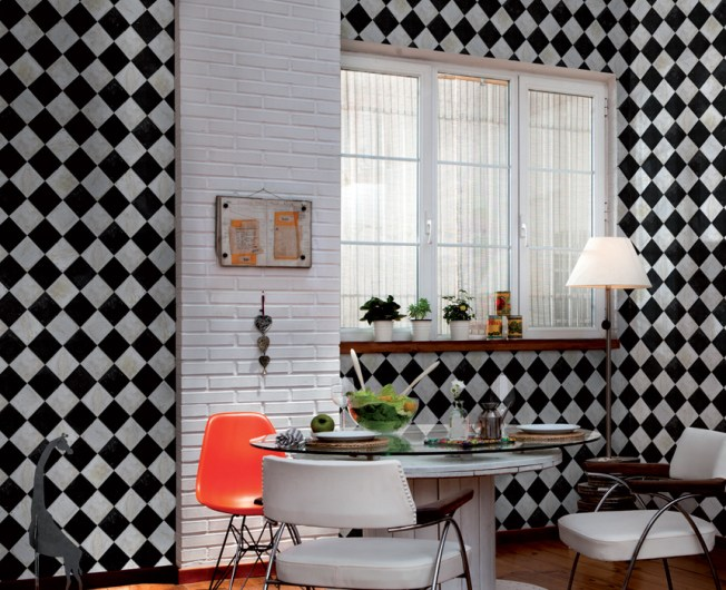 Black and White Checkered Faux Tile in a Kitchen M8826