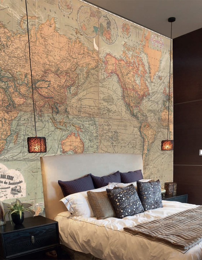 Lavish warm and washed hues of an old vintage map mural for your bedroom. | Walls Republic M9166