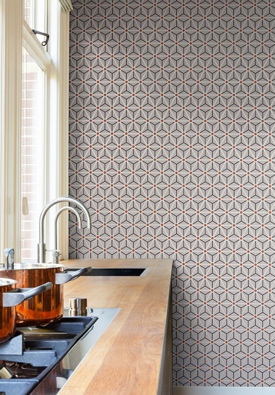 Hexagonal geometric wallpaper by Walls Republic