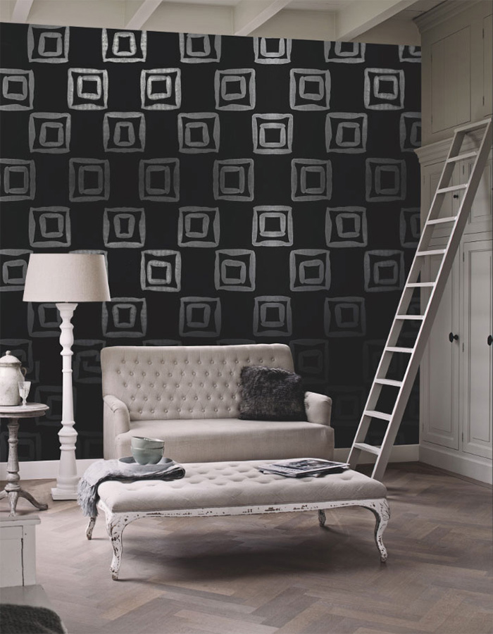 black and white nested squares geometric wallpaper by walls republic