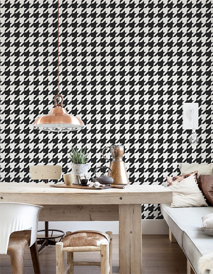 Black and white houndstooth wallpaper for a bedroom | R2542 Walls Republic