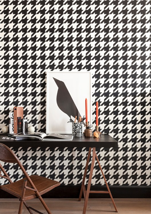 Black & White Dogstooth geometric wallpaper by Walls Republic