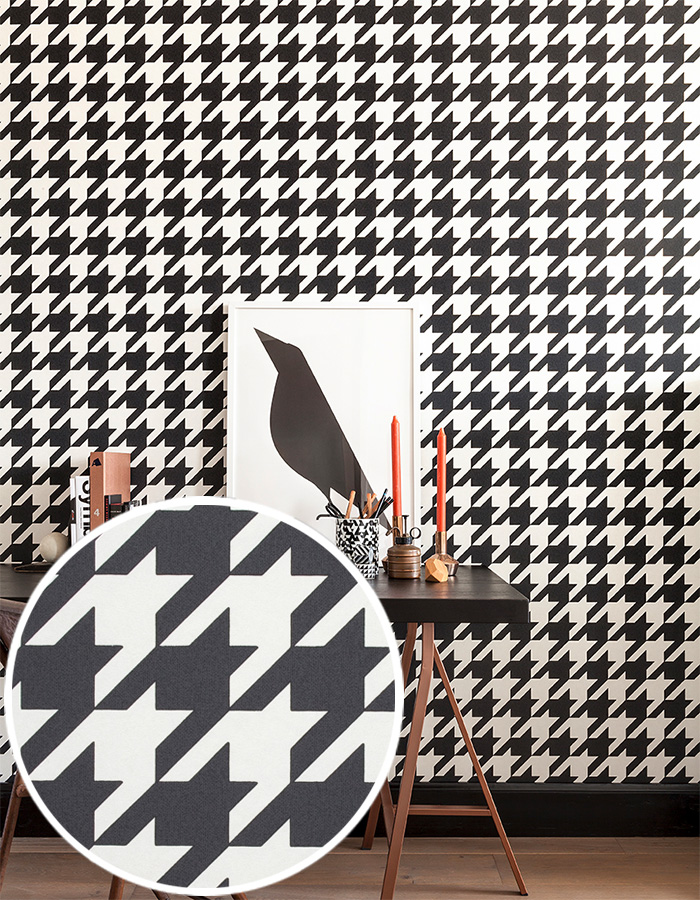 black and white houndstooth geometric wallpaper by walls republic