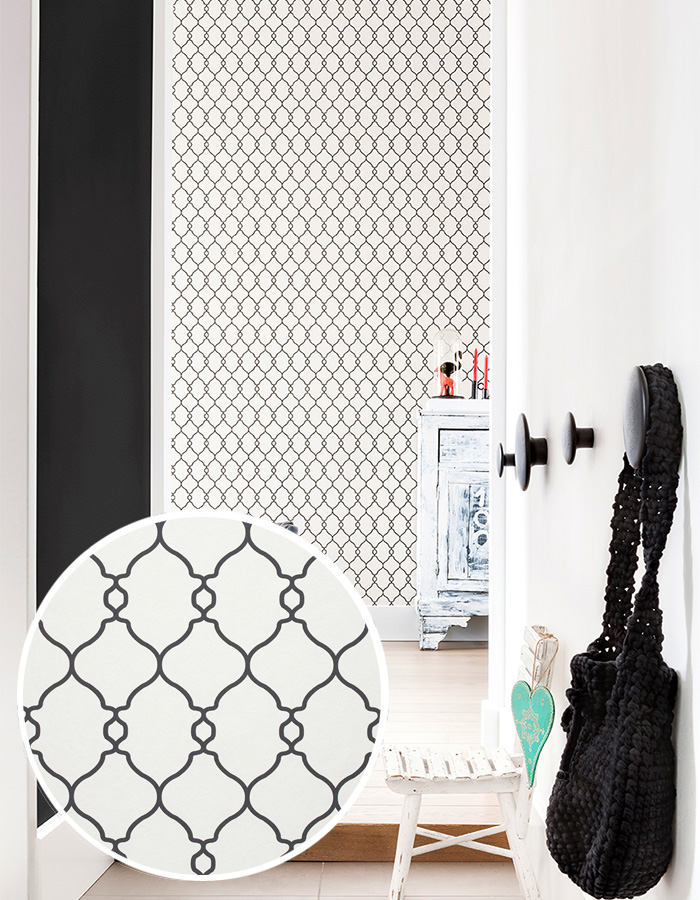 black and white geometric trellis lattice wallpaper by walls republic