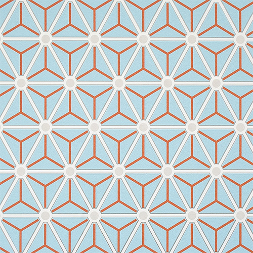 Hexagonal geometric wallpaper is perfect in Powder Blue too!