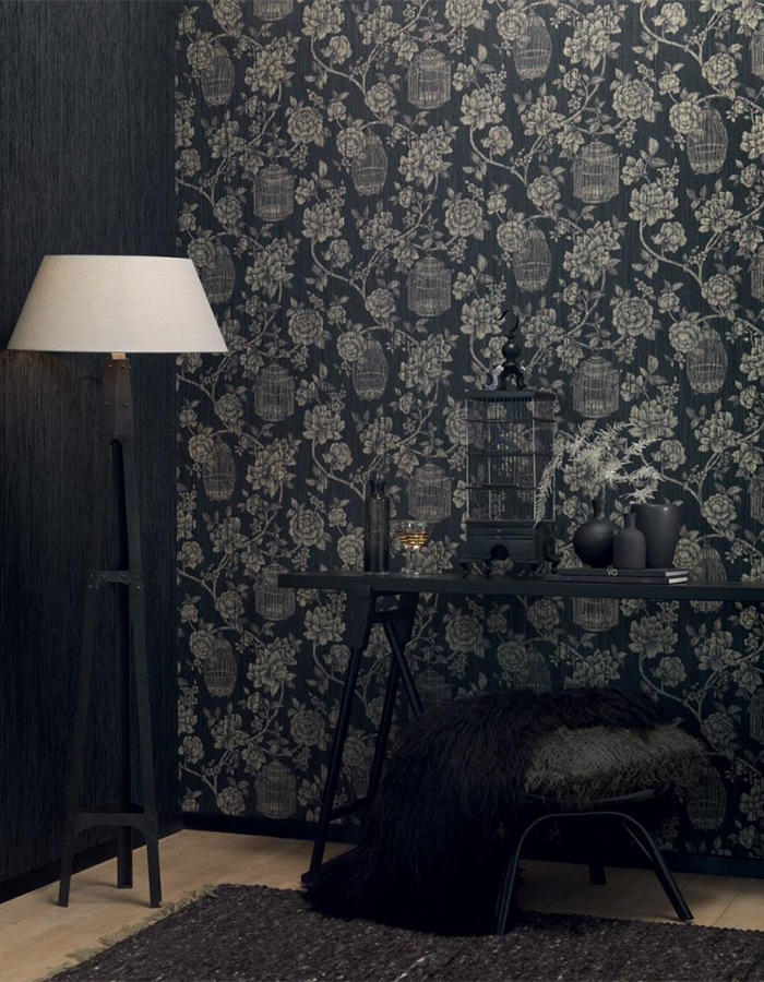 black floral paper yarn linen wallpaper by walls republic