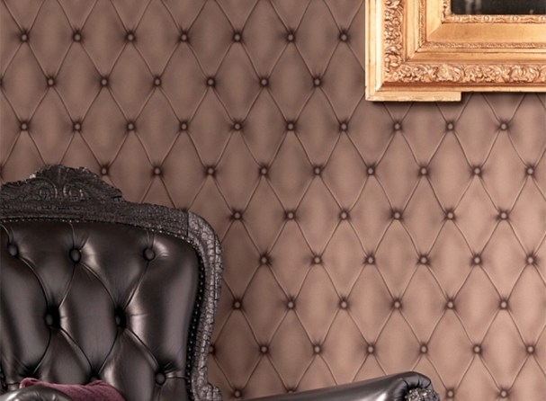 Contemporary Faux Leather Brown Tufted Wallpaper by Walls Republic