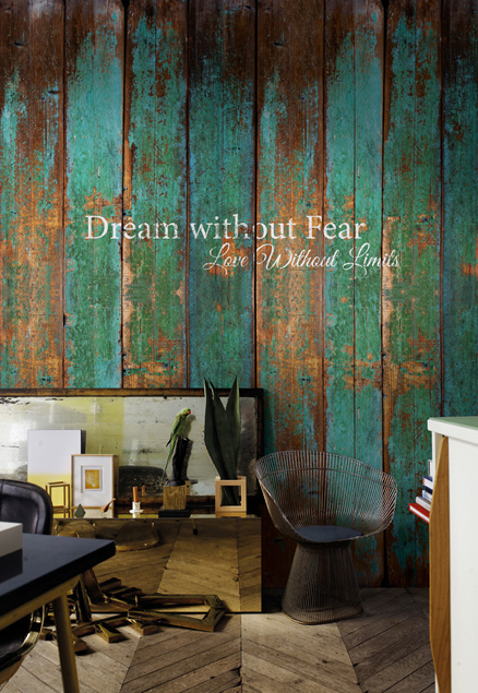 Turquoise Faux Wood Wallpaper Mural by Walls Republic
