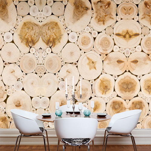 Natural stumps for the fraction of the energy costs | Wood stumps faux wallpaper mural by Walls Republic