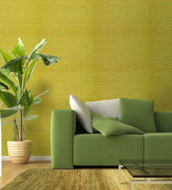 Add some tonal zing with a naturally bright green grasscloth wallpaper.