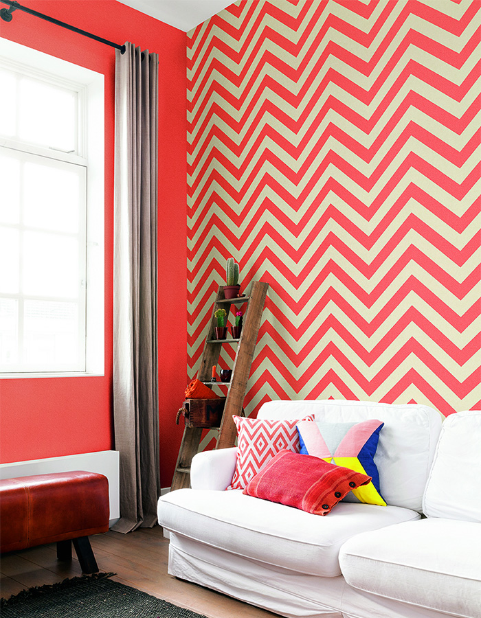 Vivid colours are energizing and uplifting if you love to gather as a family and watch your favourite after dinner movies. This dynamic chevron stripe wallpaper in coral (R2555) is an excellent choice for a fun-loving environment.
