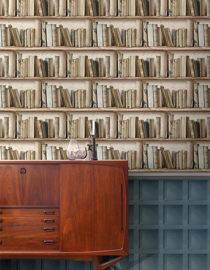 Rustic Contemporary Vintage Beige Bookshelf Wallpaper R3693