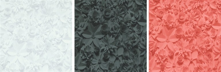 3D floral contemporary wallpaper available in red, black, white, grey, and beige | 2016 wallpaper trends Walls Republic