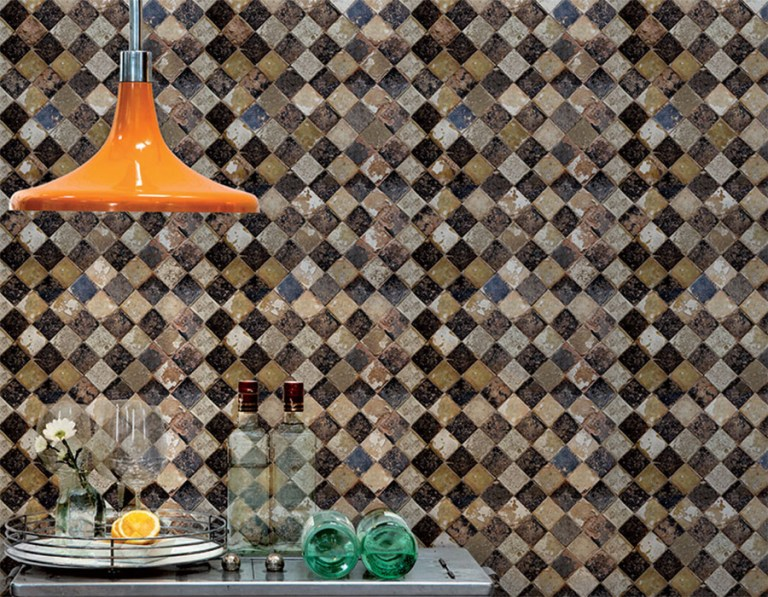 Weathered Geometric Checkered Tiles Mural | Walls Republic 2016 wallpaper trends