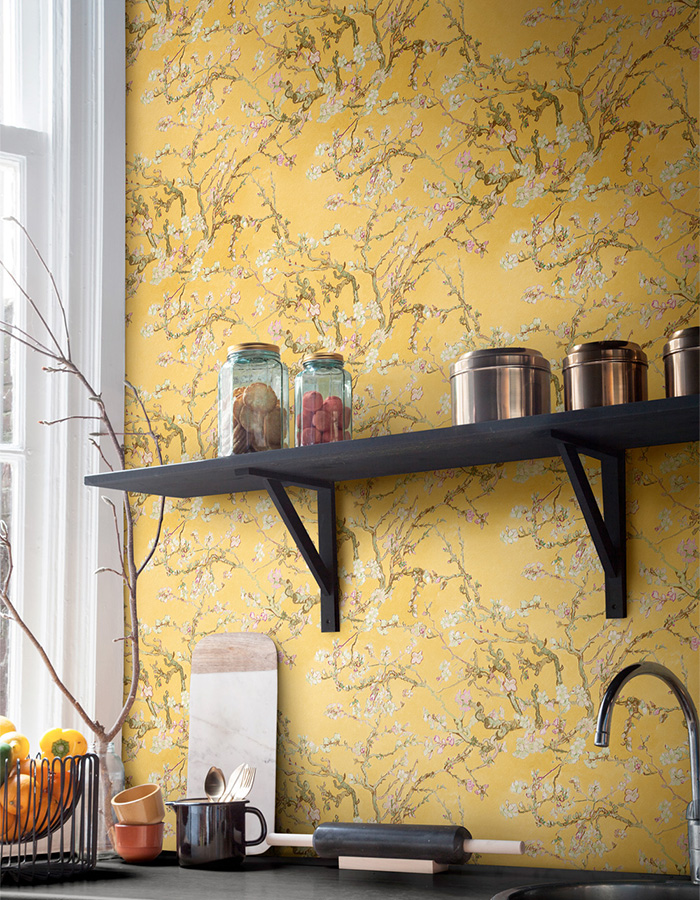 Van Gogh blossoming almond trees hand-painted effect wallpaper Walls Republic