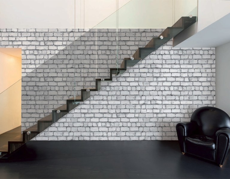 Exposed white brick with extensive tone-on-tone effects
