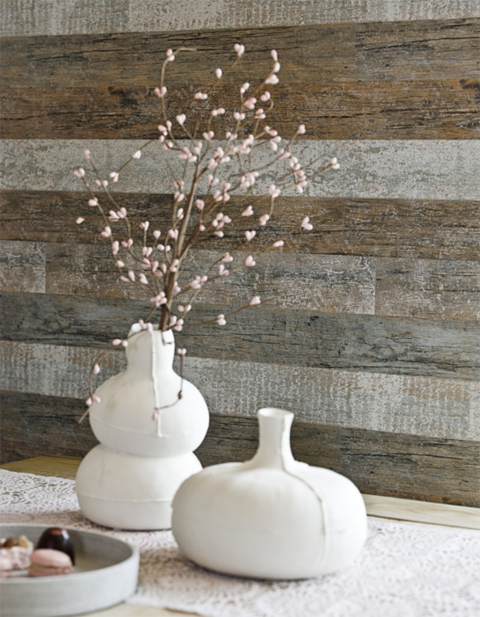 Rustic brushed timber plank wallpaper for a cozy cottage living room