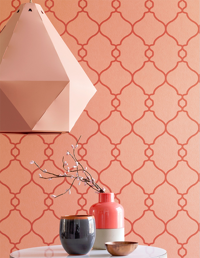Coral Lattice Wallpaper R2551
