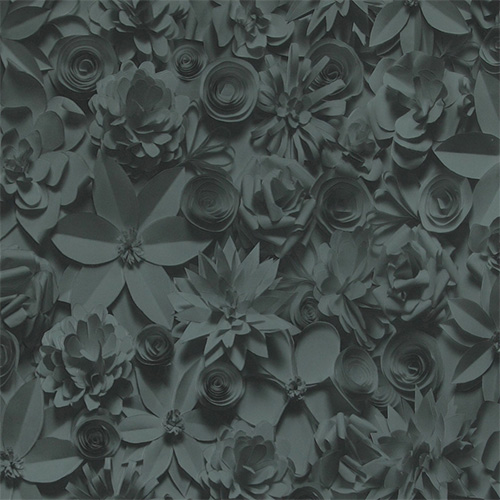 Black 3D Floral Wallpaper R2910