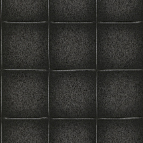 Contemporary Faux Leather Black Embossed Panel Wallpaper R3667