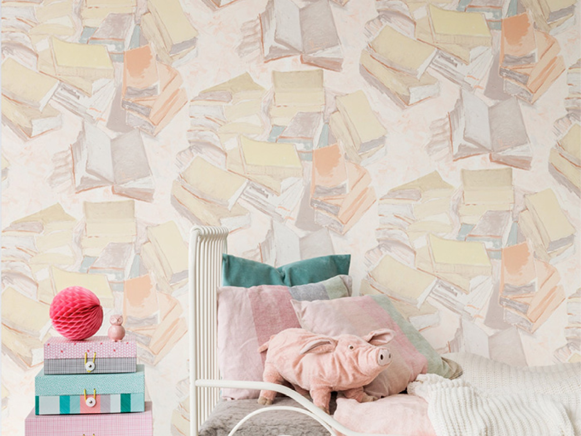 Pastel Piles of Books Wallpaper R2808