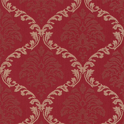 Shimmery rich red linen damask wallpaper R3212