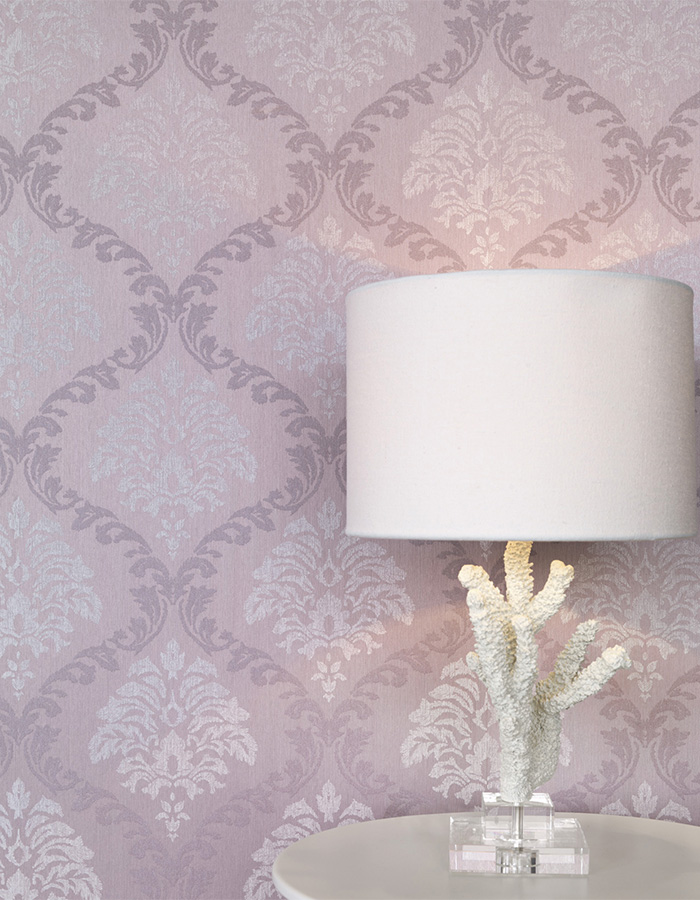 Stand-out mauve medallion linen damask wallpaper