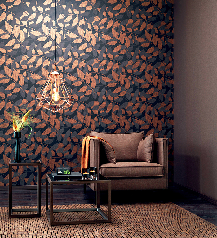 Transitional Metallic Black and Copper Overleaf Wallpaper R4007
