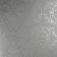 Luxury Elegant Grey Octagonal Metallic Tiled Wallpaper R3795