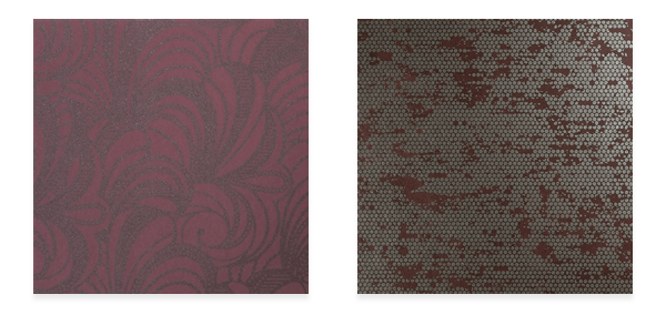 Marsala Burgundy Romance R3035 (left) and Chic Glamorous Rustic Metallic Silver Spotted Red Wallpaper R3802 (right)