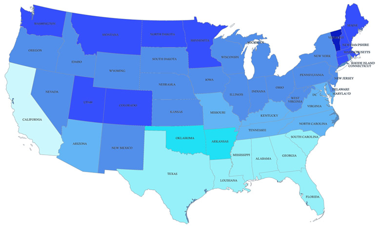 How Much Does It Snow Us Map - Snowfall us map