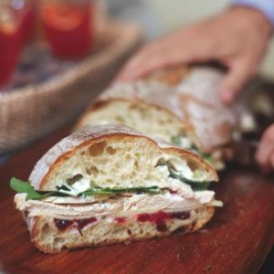 Italian Loaf with Turkey, White Cheddar and Cranberry Sauce