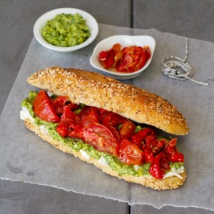 Slow-Roasted Tomato and Cilantro-Cashew Picnic Sandwich