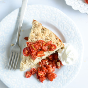 Vanilla Cornmeal Crumb Cake with Candied Cherry Tomatoes