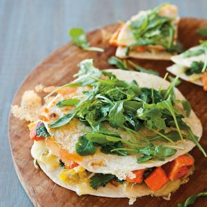 Sweet Potato and Green Chili Quesadillas with Arugula