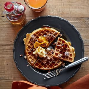Spiced Pecan Pumpkin Waffles with Homemade Pecan Maple Butter