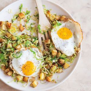 Brussels Sprouts and Potato Hash with Fried Eggs