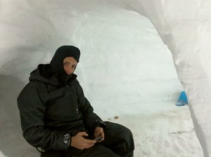 Chief Operating Officer, Leigh, taking business emails in Steamboat Springs igloo!