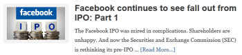 Facebook continues to see fall out from IPO: Part 1