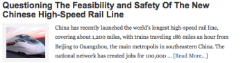 Questioning The Feasibility and Safety Of The New Chinese High-Speed Rail Line