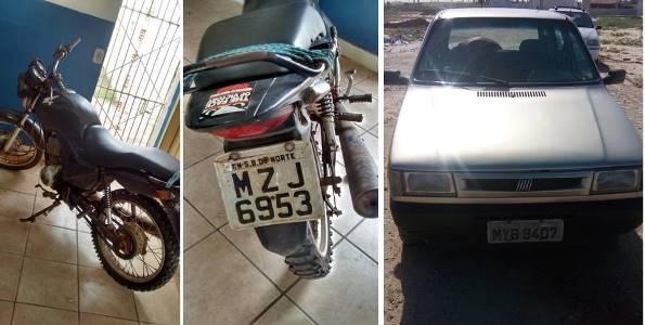 Veículos recuperados pela 2ª CIPM (fotos: Sesed/assecom)
