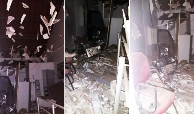 Agência do Bradesco ficou parcialmente destruída com a força da explosão (Foto: Divulgação/PM)