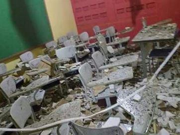 Forro do teto de uma escola desabou com o temporal