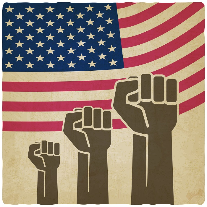 fist independence symbol American flag old background - vector illustration. eps 10
