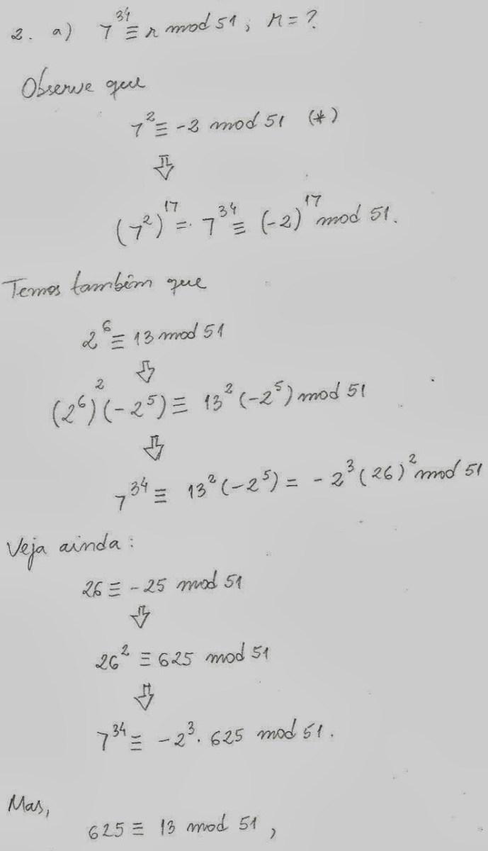 Qual o resto da divisão 7^34 : 51?